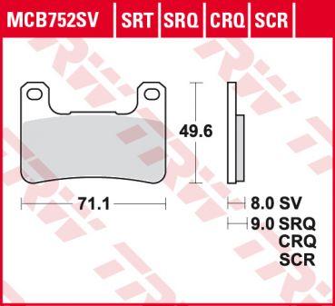 TRW Bremsklotz Bremsbelag Carbon CRQ MCB752CRQ Motorrad Bremsbeläge