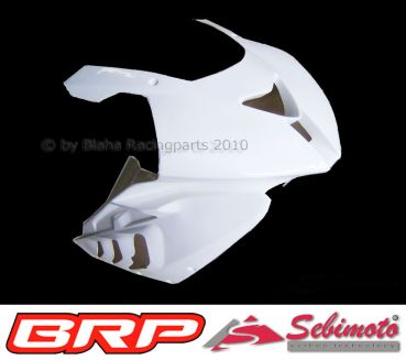 BMW S 1000RR 2009-2011 Sebimoto Rennverkleidung 2 tlg., Unterteil für original Auspuffanlage + Höcker offen (für Originalsitz) / Fairing 2 parts, lower part for original exhaust + tailsection open (for original seat)