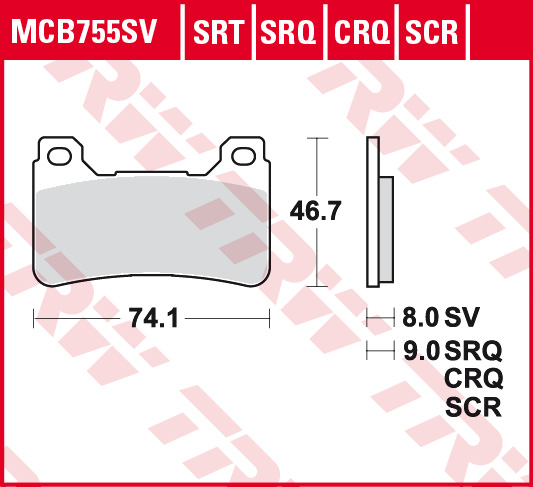 Carbon ohne ABE TRW Lucas MCB755CRQ Scheibenbremsbelag
